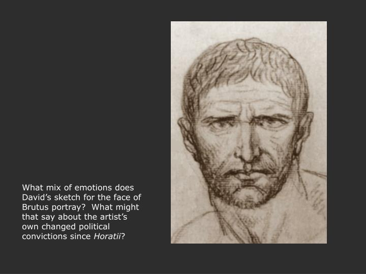 What mix of emotions does David's sketch for the face of Brutus portray?  What might that say about the artist's own changed political convictions since