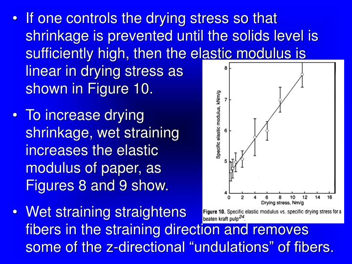 If one controls the drying stress so that shrinkage is prevented until the solids level is sufficiently high, then the elastic modulus is linear in drying stress as