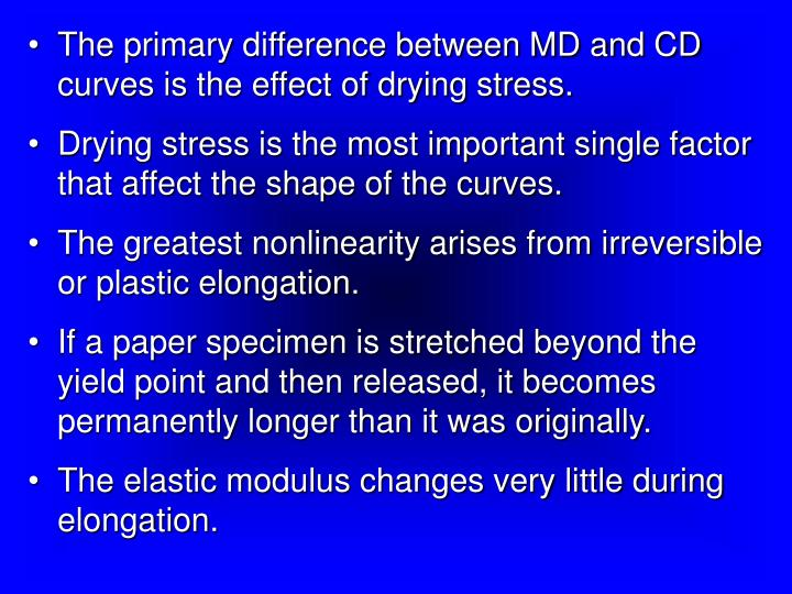 The primary difference between MD and CD curves is the effect of drying stress.