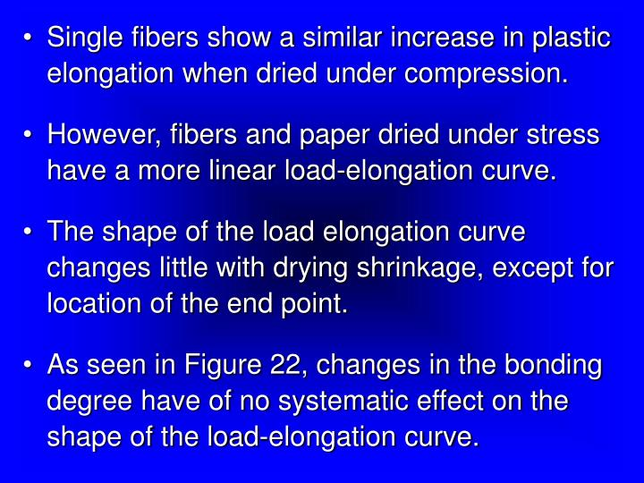 Single fibers show a similar increase in plastic elongation when dried under compression.
