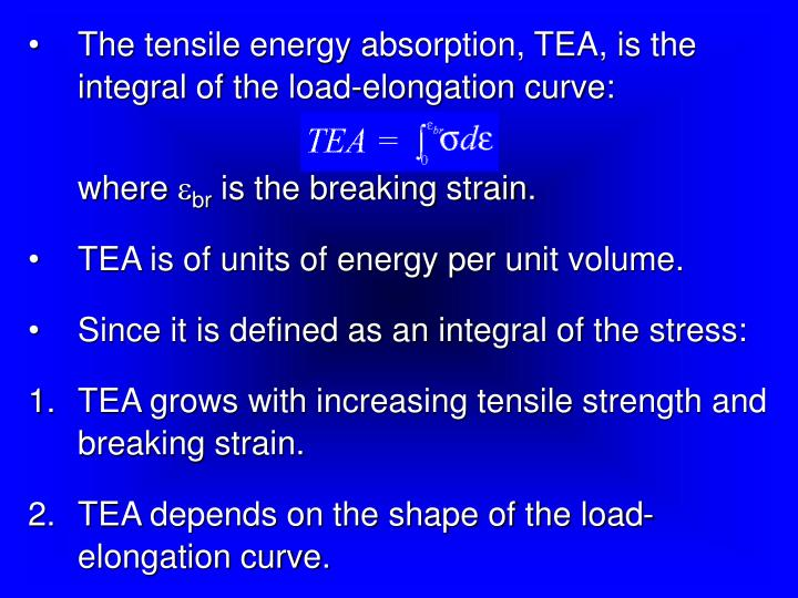 The tensile energy absorption, TEA, is the integral of the load-elongation curve: