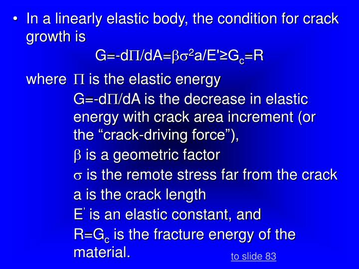 In a linearly elastic body, the condition for crack growth is