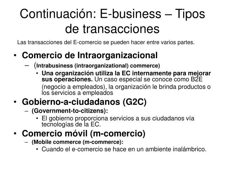 Continuación: E-business – Tipos de transacciones