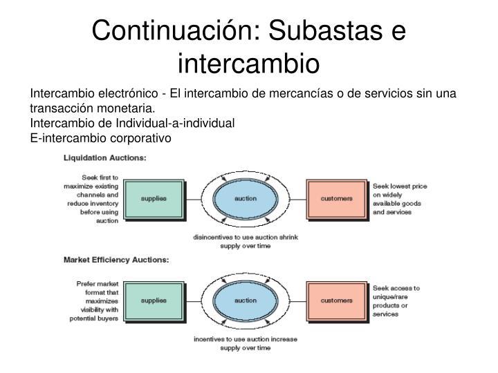 Continuación: Subastas e intercambio
