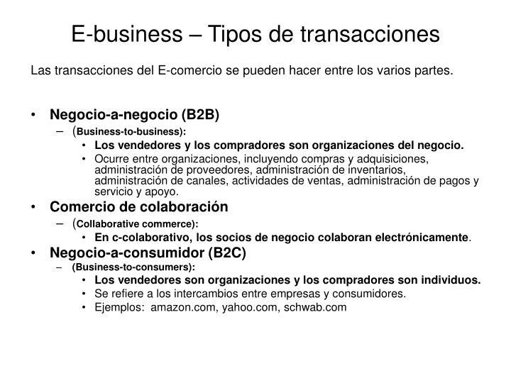 E-business – Tipos de transacciones