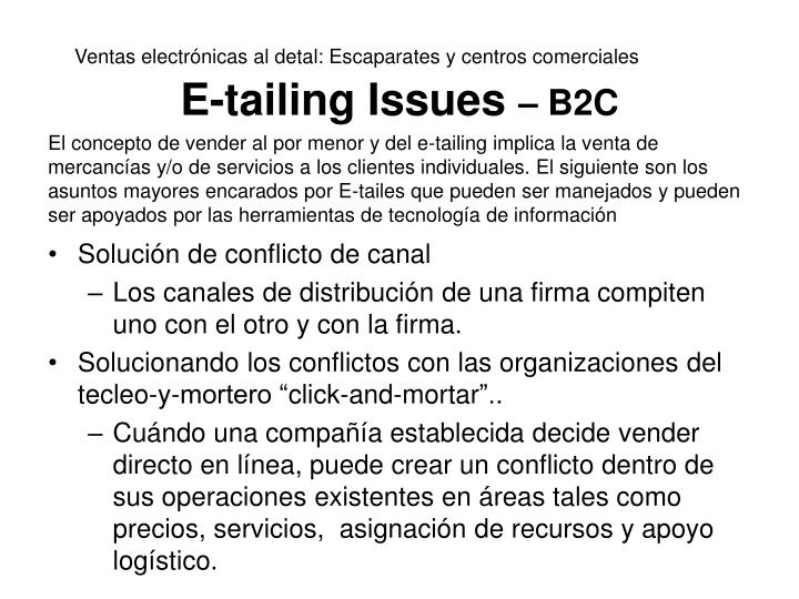 E-tailing Issues