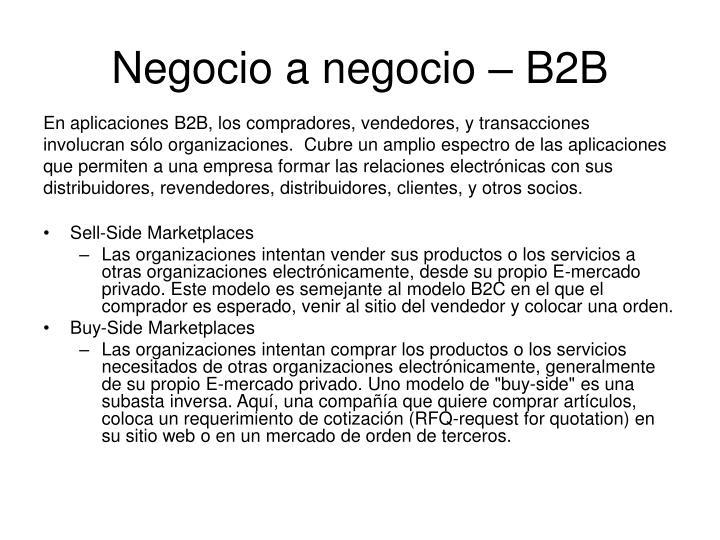 Negocio a negocio – B2B