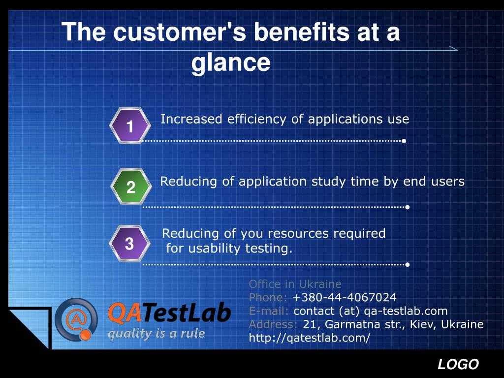 The customer's benefits at a glance