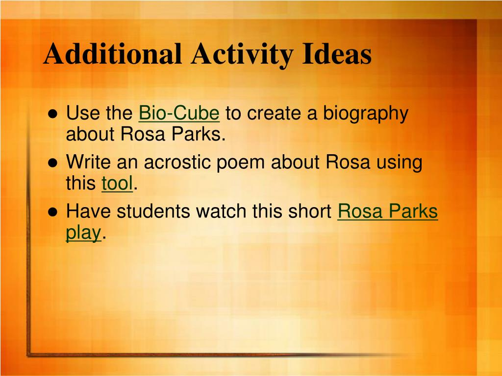 Additional Activity Ideas