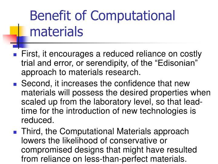 Benefit of Computational materials