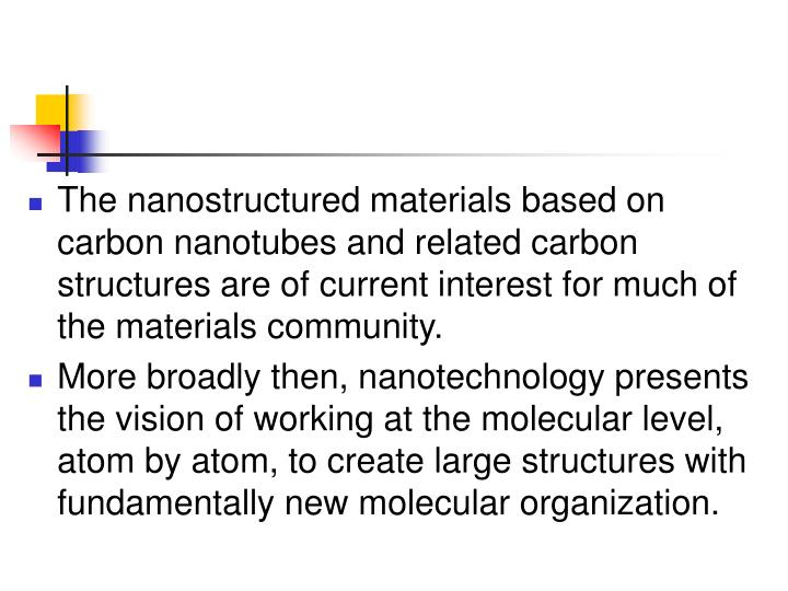 The nanostructured materials based on carbon nanotubes and related carbon structures are of current interest for much of the materials community.