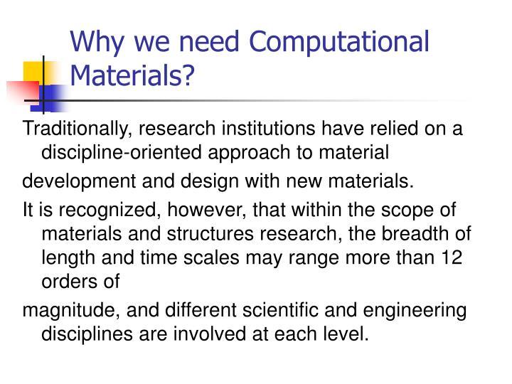 Why we need Computational Materials?