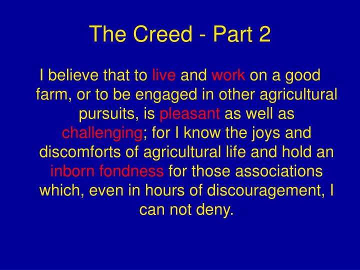 The Creed - Part 2