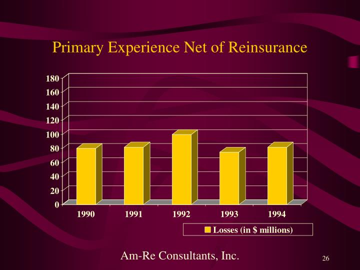 Primary Experience Net of Reinsurance