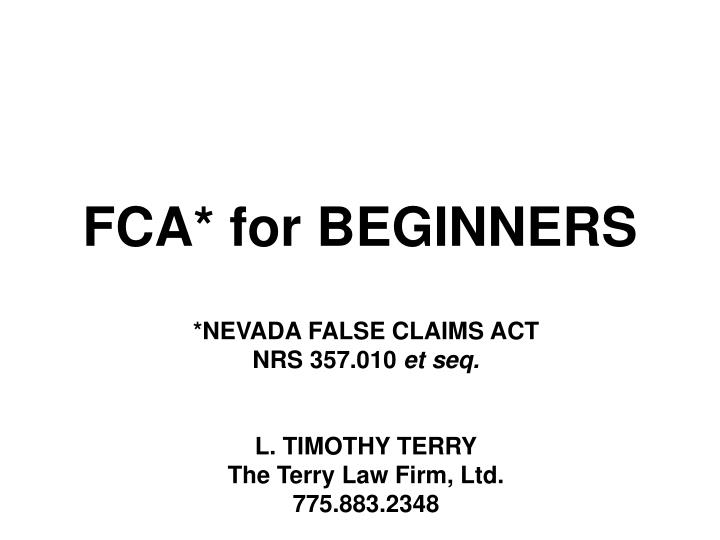 Fca for beginners
