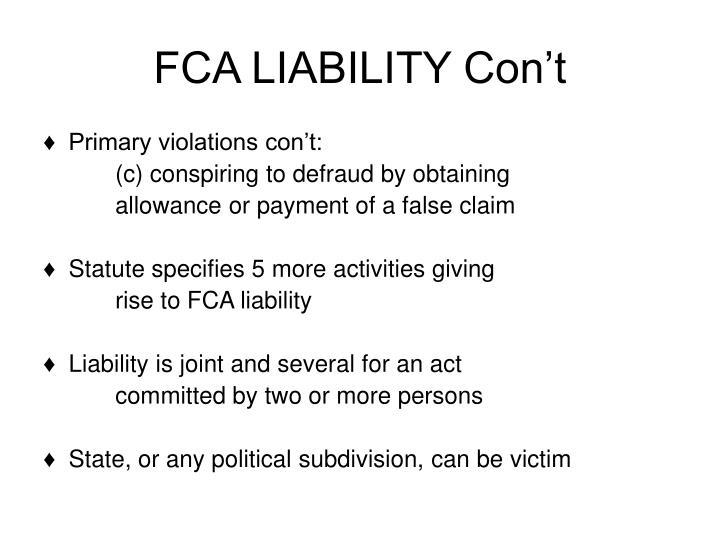 FCA LIABILITY Con't
