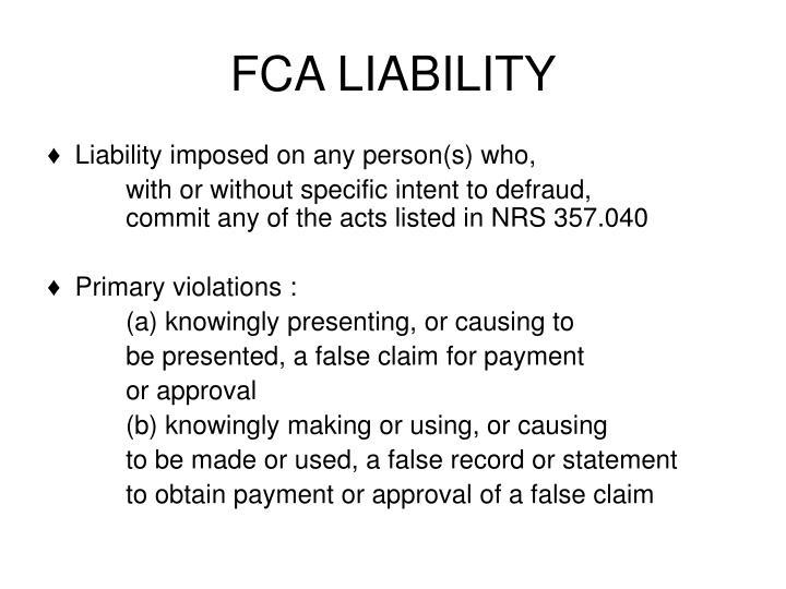 FCA LIABILITY