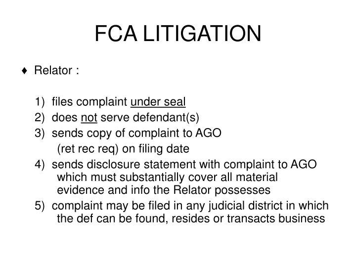 FCA LITIGATION