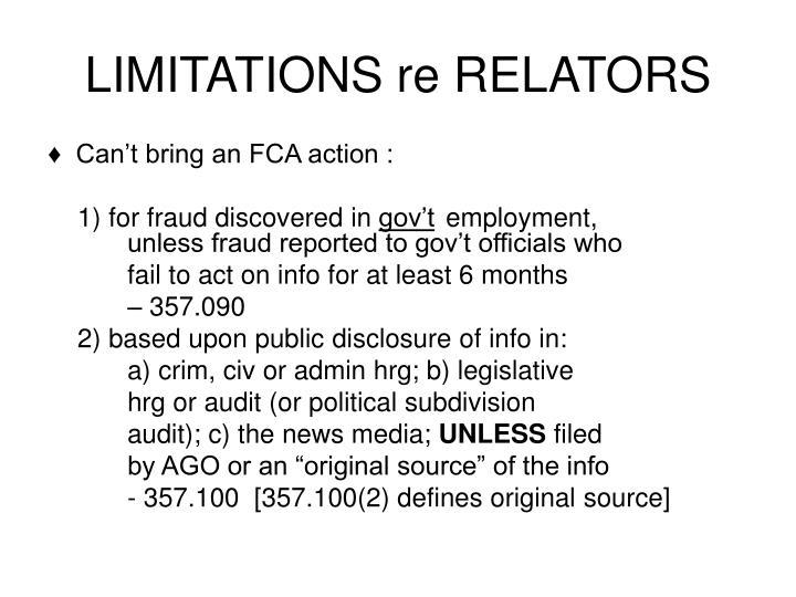 LIMITATIONS re RELATORS