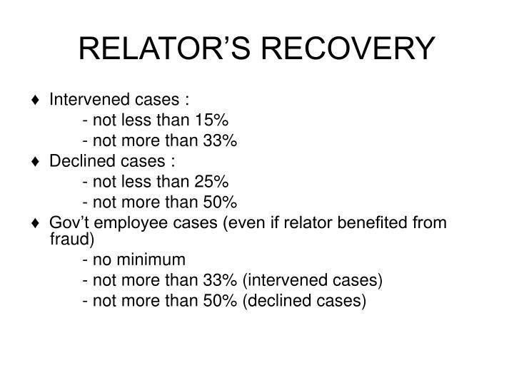 RELATOR'S RECOVERY
