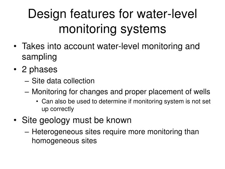 Design features for water-level monitoring systems