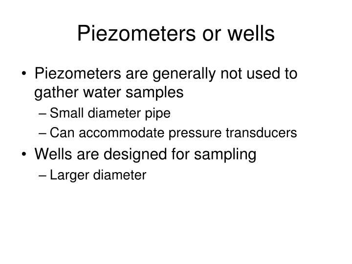 Piezometers or wells