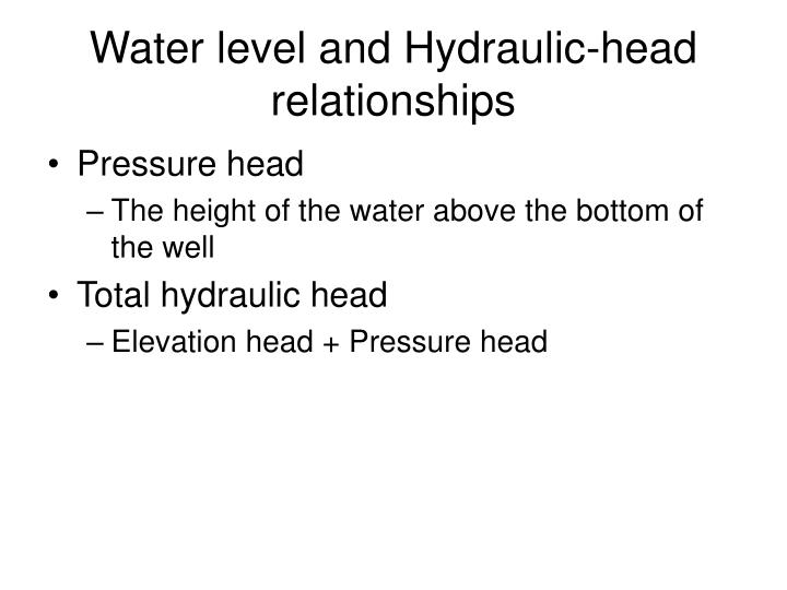 Water level and Hydraulic-head relationships