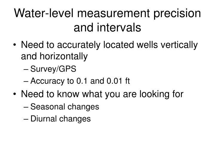 Water-level measurement precision and intervals