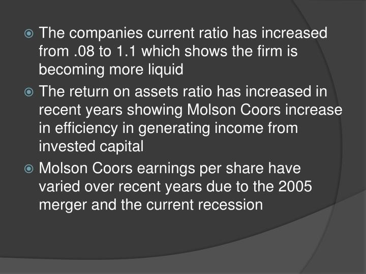 The companies current ratio has increased from .08 to 1.1 which shows the firm is becoming more liquid