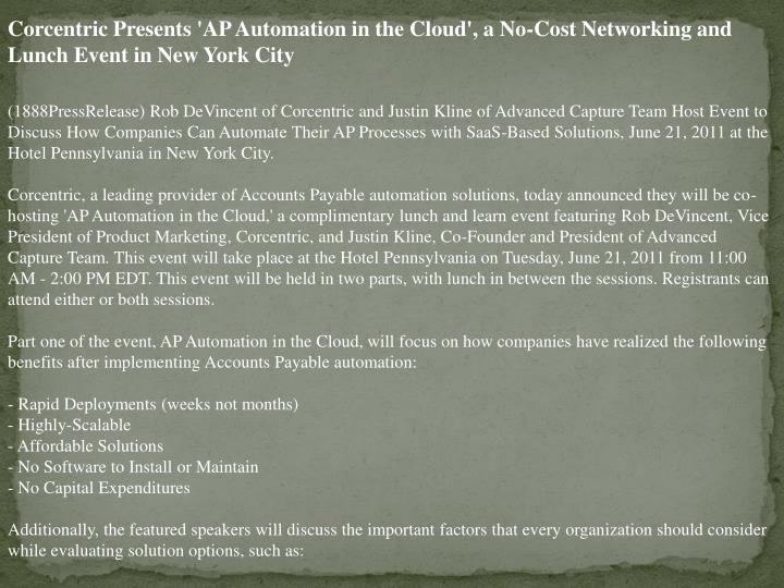 Corcentric Presents 'AP Automation in the Cloud', a No-Cost Networking and Lunch Event in New York C...