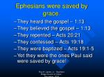 ephesians were saved by grace