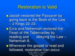 restoration is valid