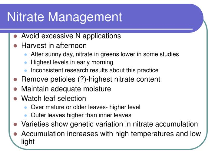 Nitrate Management