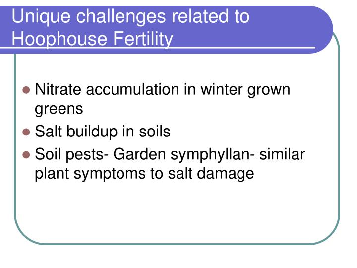 Unique challenges related to hoophouse fertility