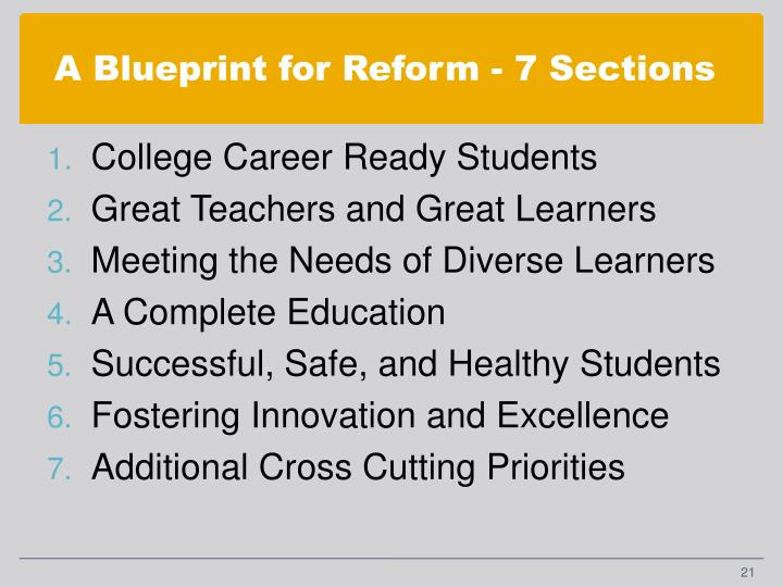 A Blueprint for Reform - 7 Sections