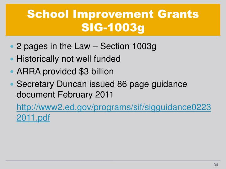 School Improvement Grants