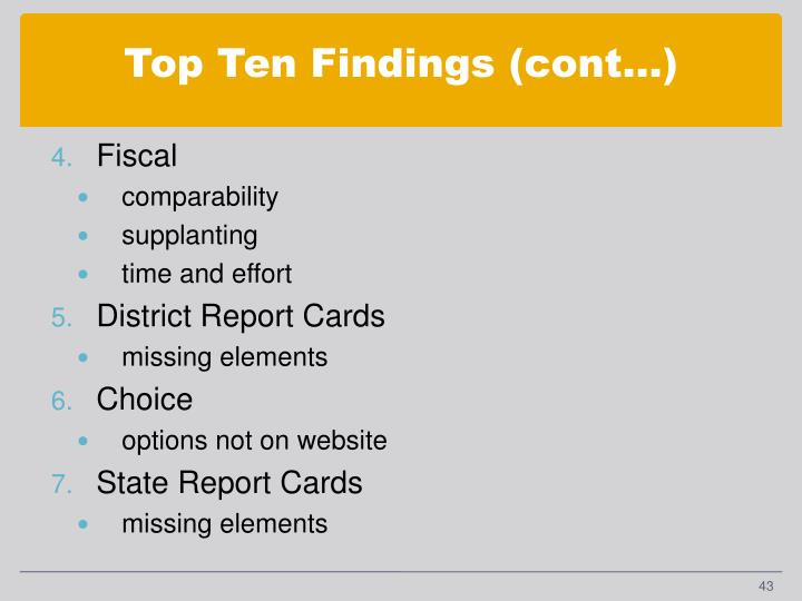 Top Ten Findings (cont…)