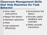 classroom management skills that help maximize on task behavior