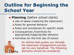 outline for beginning the school year