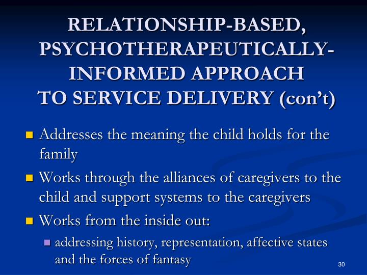 RELATIONSHIP-BASED, PSYCHOTHERAPEUTICALLY- INFORMED APPROACH
