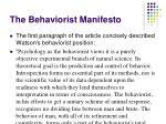 the behaviorist manifesto1