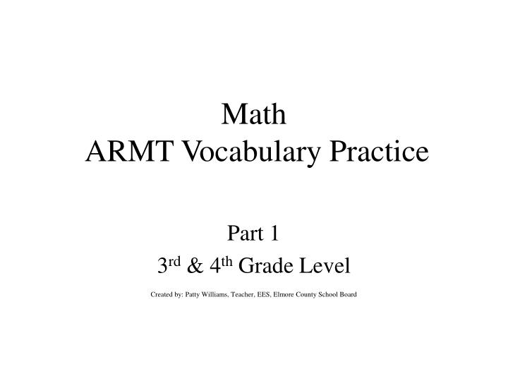 math armt vocabulary practice n.