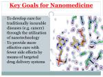 key goals for nanomedicine