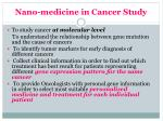 nano medicine in cancer study