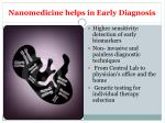 nanomedicine helps in early diagnosis