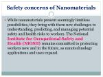 safety concerns of nanomaterials
