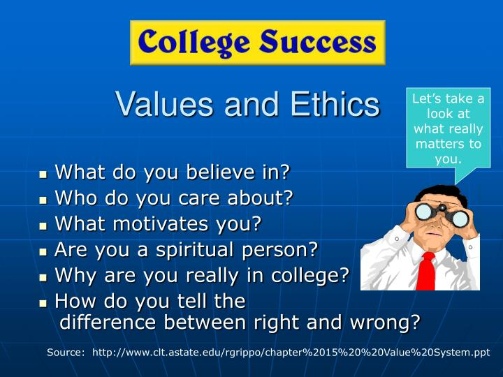 values and ethics and career success