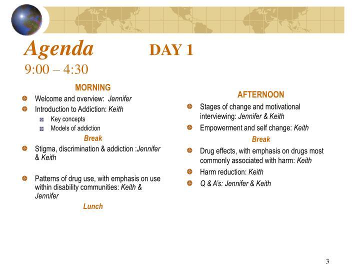 Agenda day 1 9 00 4 30