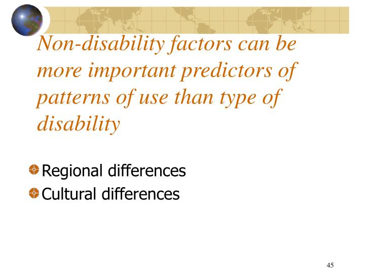 Non-disability factors can be more important predictors of patterns of use than type of disability
