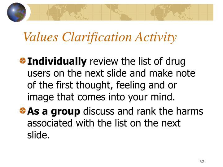 Values Clarification Activity